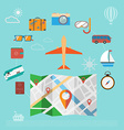 Colorful summer holiday travel planning icon set vector image vector image