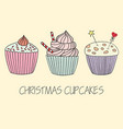 cupcake set of hand drawn cupcakes vector image vector image