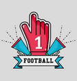 football message in the ribbon with glove and vector image vector image