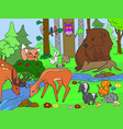 forest landscape with animals coloring for vector image vector image