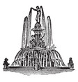 fountain water vintage engraving vector image vector image