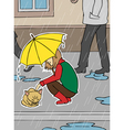 girl and homeless cat in rain vector image vector image