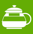 glass teapot icon green vector image vector image