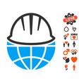 global helmet icon with dating bonus vector image vector image