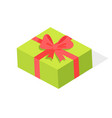 green gift box with red bow isolated vector image vector image