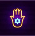 hand meditation neon sign vector image vector image