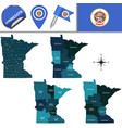 map of minnesota with regions vector image vector image