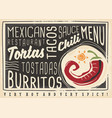 mexican food restaurant menu design vector image vector image
