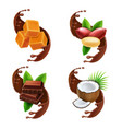 peanuts caramel coconut in chocolate splash vector image vector image