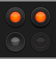 radio buttons black and orange interface 3d signs vector image