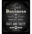 Restaurant Poster on Chalk Board vector image vector image