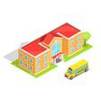 school orange two-storey school and yellow bus vector image