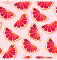 seamless pattern with red grapefruit slices vector image