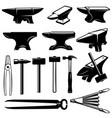 set blacksmith design elements anvilshammers vector image