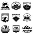 set mountain tourism emblems design element vector image vector image