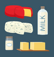 set of milk and dairy products in cartoon style vector image vector image