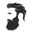 silhouette a bearded man hipster style barber vector image vector image