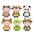 six children in costumes of animals vector image vector image