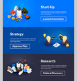 startup strategy and research banners of isometric vector image