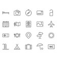 travel line icons set simple minimal pictogram vector image vector image