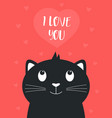 valentines card with cute black cat and heart vector image vector image