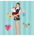 woman mother holding carrying baby carrier child vector image vector image