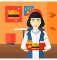 Woman with fast food vector image
