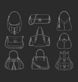 women fashion handbags collection sketch vector image