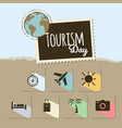 world tourism day card on blue and brown vector image