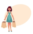 Young beautiful woman with shopping bags vector image