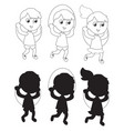 children jumping the rope coloring silhouettes vector image