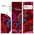 Retro colorful 3 banners with abstract trees vector image