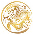 ink hand drawn stylized chinese dragon round vector image