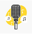 vintage microphone with note vector image