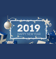 2019 new year festive banner template with border vector image vector image
