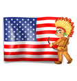 A young Indian and the USA flag vector image vector image