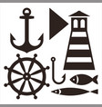 anchor rudder lighthouse hook and fish vector image