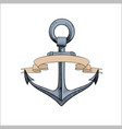 anchor with ribbons on white vector image vector image