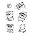 cartoon character pug dog poses cute pet dog in vector image