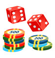 casino chips and dice playing cubes with dots vector image