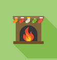 christmas socks hanging in front of fireplace vector image