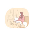 comfort rest cozy relaxation with cat and hot vector image