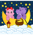 couple of hippos float on moon in clouds vector image vector image