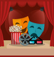 courtain cinema with films icons vector image vector image