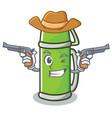 cowboy thermos character cartoon style vector image vector image