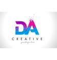da d a letter logo with shattered broken blue vector image