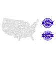 dotted map of usa and scratched stamp composition vector image vector image