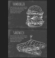 fast food sketches of hamburger and sandwich vector image