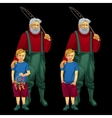 father with son in different moods happy and sad vector image vector image