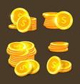 gold coins icons golden coins stacks and vector image vector image